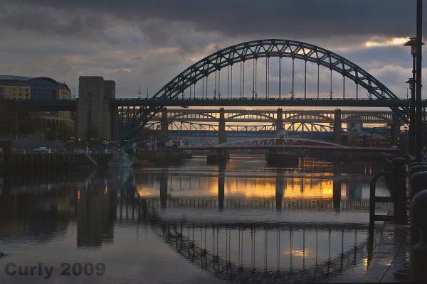 The Tyne bridges at Newcastle and Gateshead