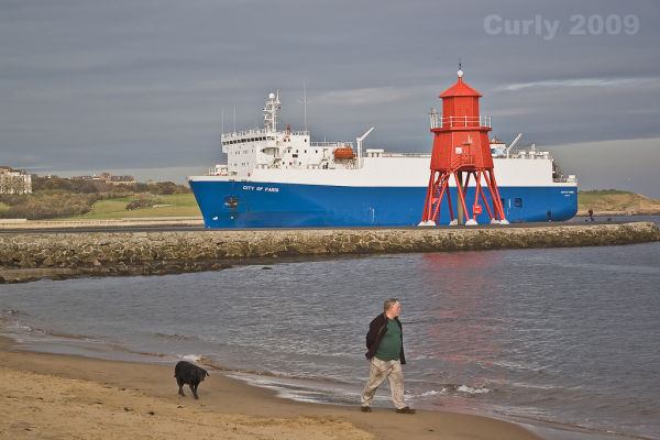 City of Paris passes the Groyne, South Shields