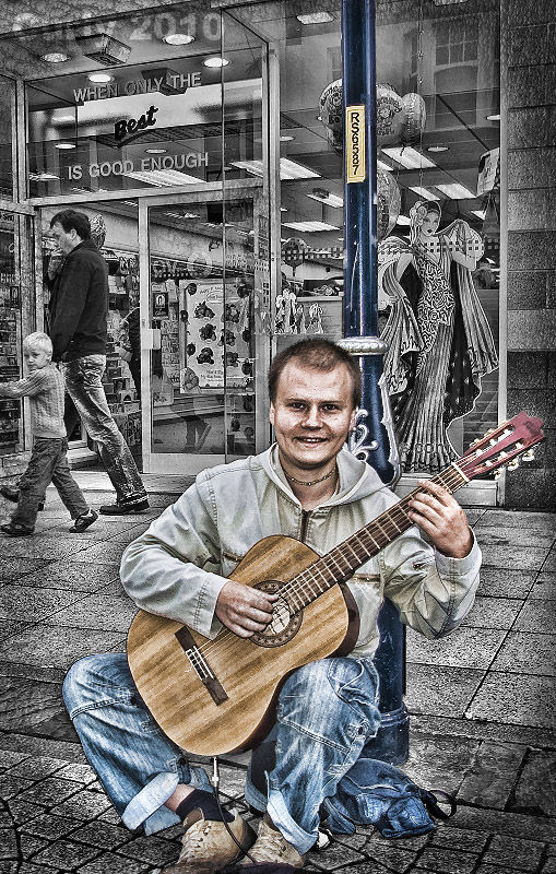 Busker in South Shields