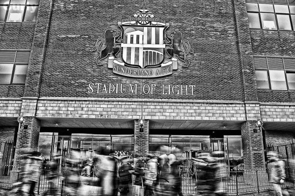 Fans arrive at Stadium of Light, Sunderland.