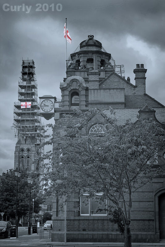 Jarrow town hall and Christ Church