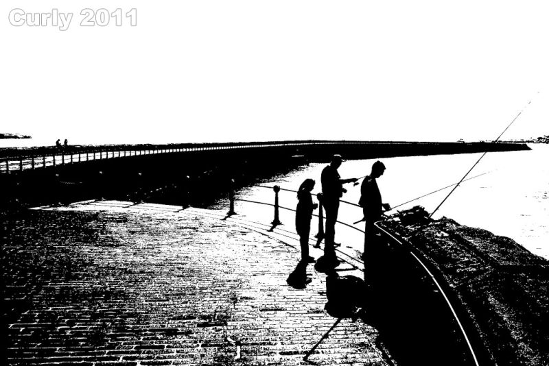 Fishing on the pier, South Shields