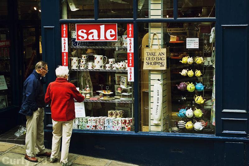 Old bag at shop, Sadler Street, Durham, colour,