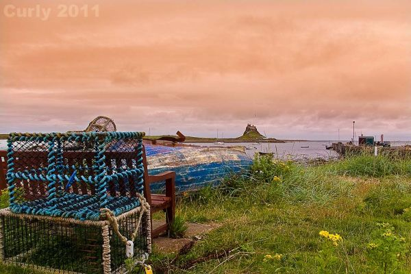 Lindisfarne harbour and castle