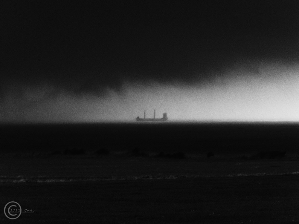 Ship off Sandhaven Beach, South Shields