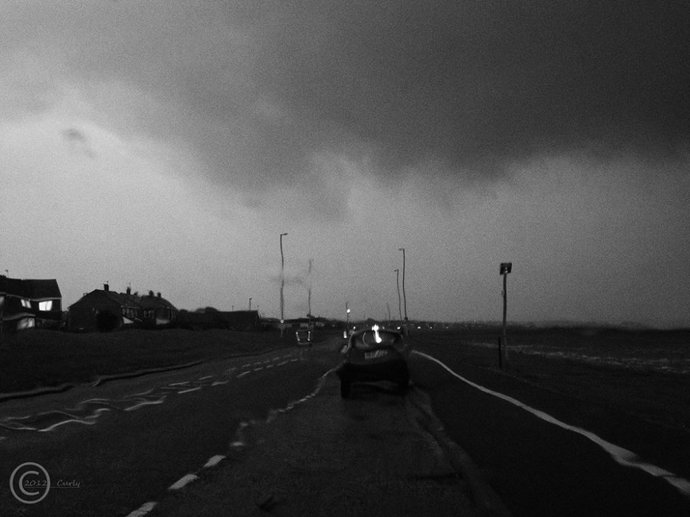 Coast Road, South Shields, thunder storm