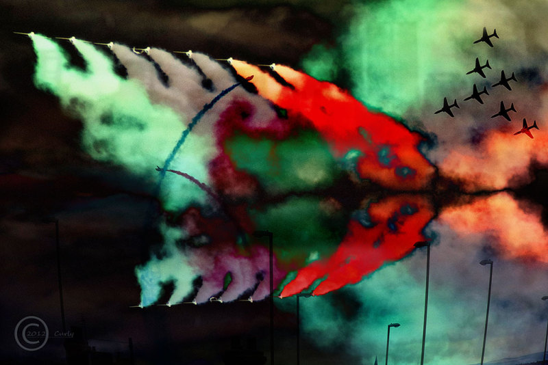 Red Arrows over Tyneside, abstract