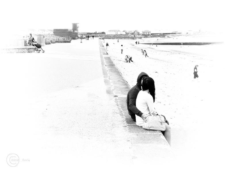 Boy and girl at Blyth beach