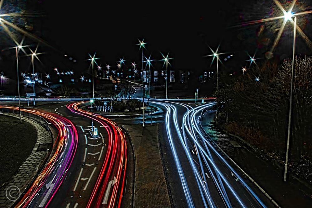 Light trails Tyne Dock, South Shields