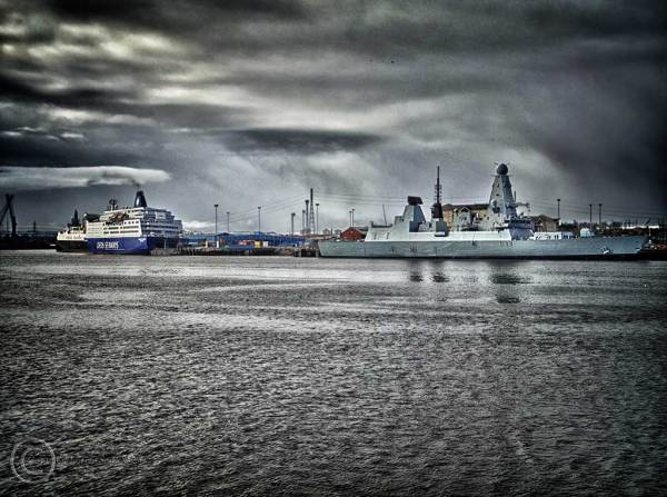 HMS Dauntless on the River Tyne