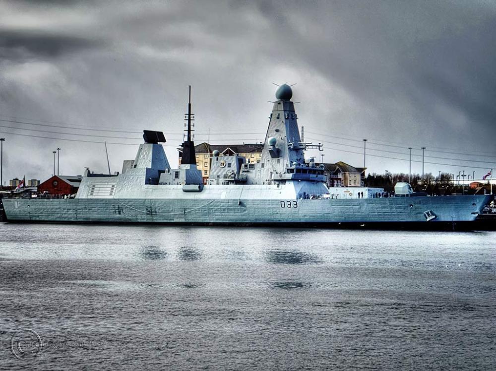 HMS Dauntless on the River Tyne