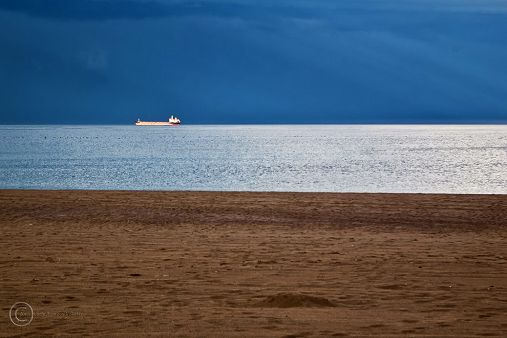 Oil tanker off Sandhaven Beach, South Shields, UK