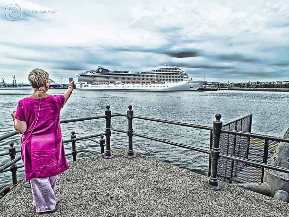 MSCX Magnifica moored off South Shields