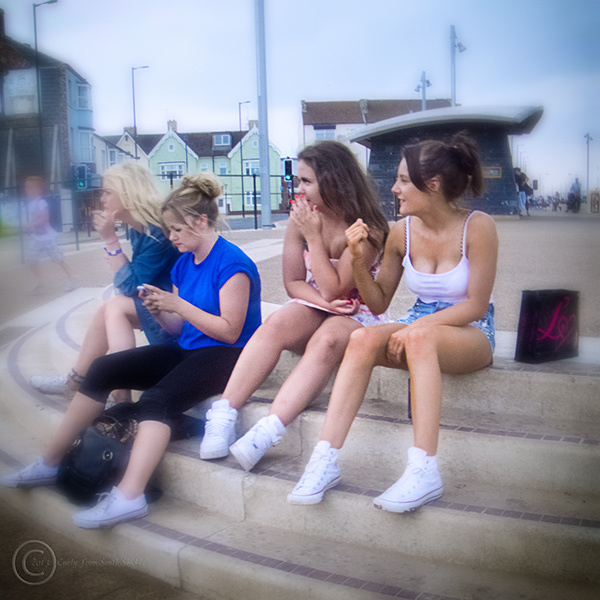 Girls on Redcar promenade, north east England.