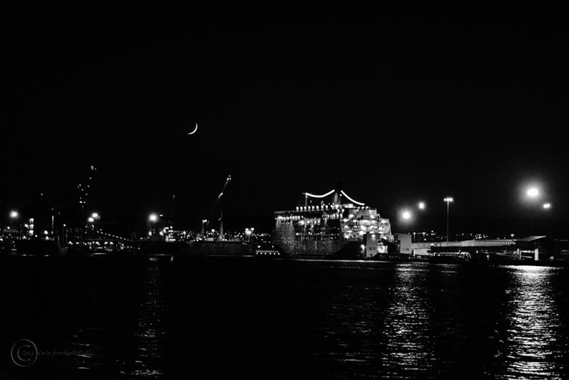 River Tyne at night viewed at South Shields