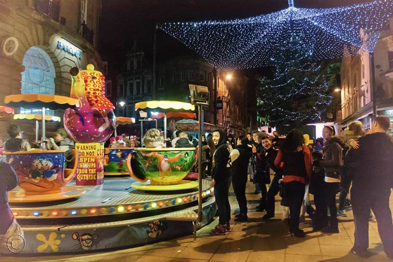 Switching Christmas lights on in South Shields, UK