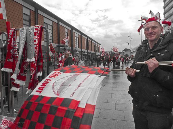Flag seller in Sunderland Bridges