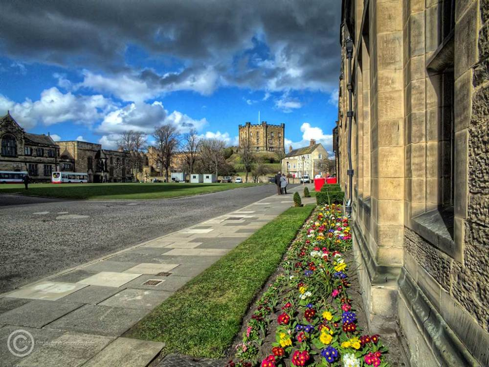 Palace Green and castle, Durham, UK