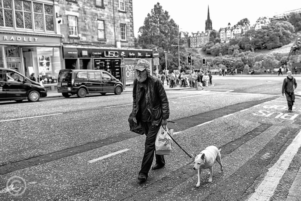 Man walking dog in Edinburgh