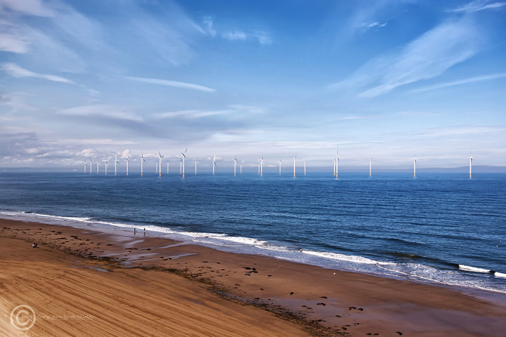 Wind farm at Redcar, England.