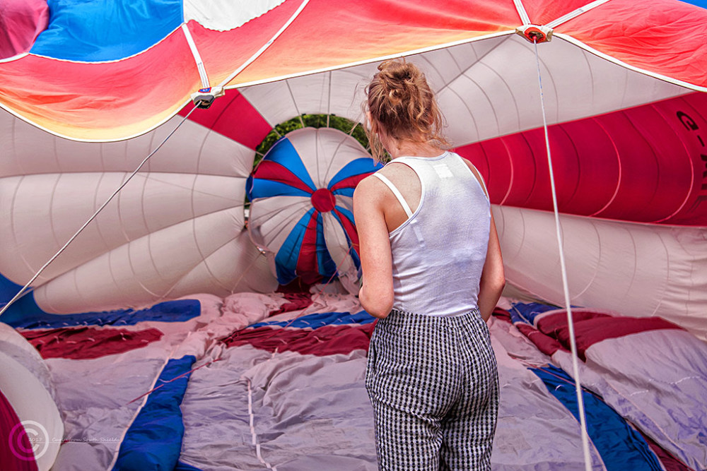Inflating a hot air balloon in Durham