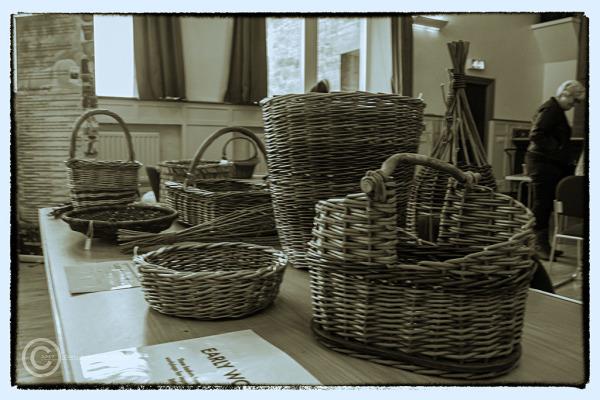 Hand made baskets in Rothbury, Northumberland.