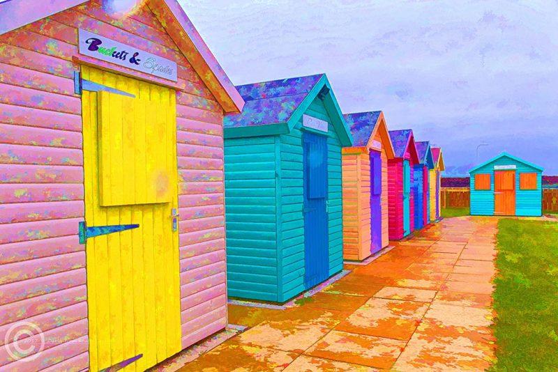 Beach huts in Amble, Northumberland.