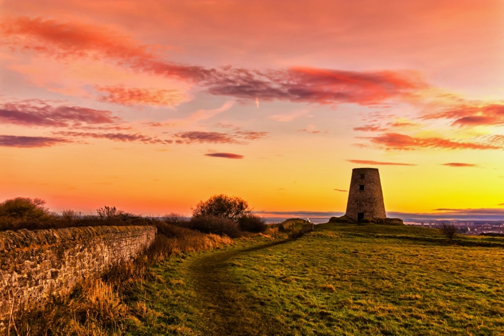 Sunset at Cleadon Hills, South Shields.
