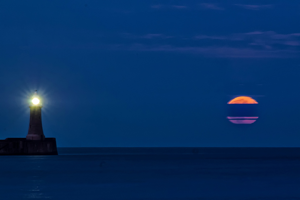 """Supermoon"" rising over South Shields harbour."