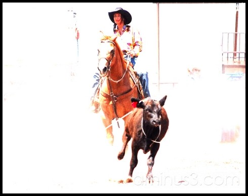 Image of a woman roper on a horse