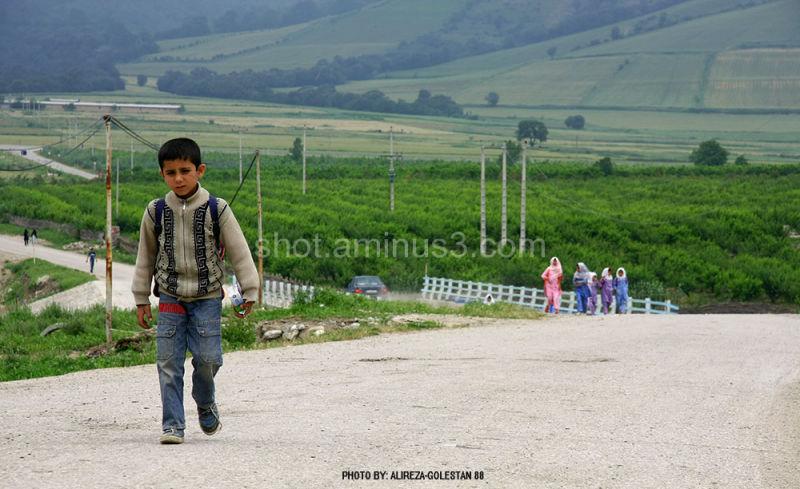 in the road of school