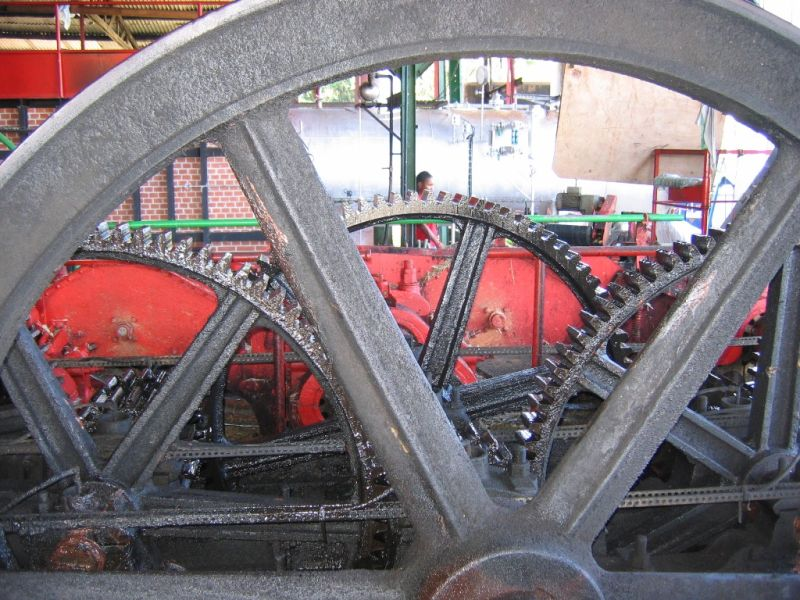 wheels of a rum ditillery