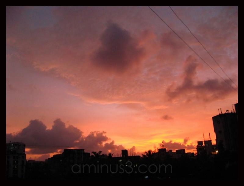 A fiery sky at dusk