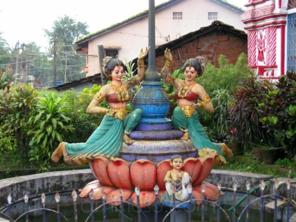 fountain outside marikamba temple in sirsi