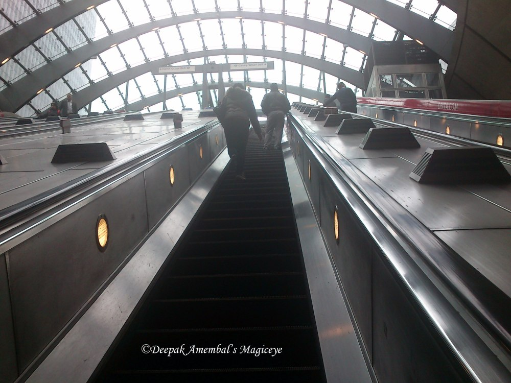 Escalator at Canary Wharf station
