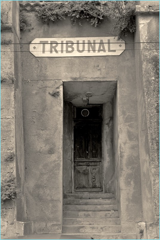 Entrance of an old tribunal in Uzès