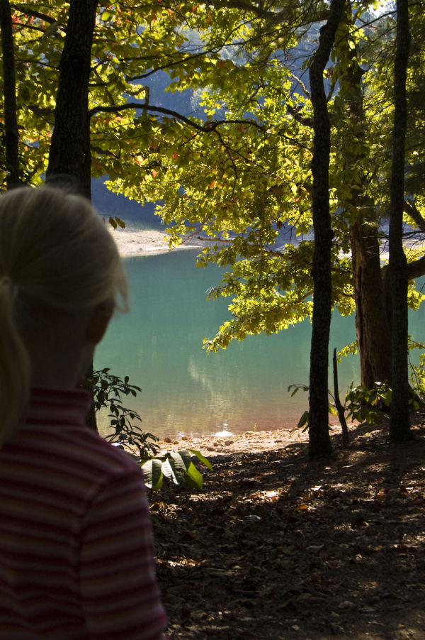 My daughter saying goodbye to the lake