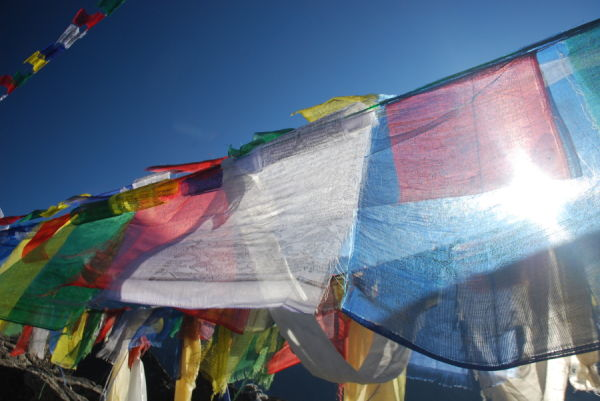 Tibetan flags on Gokyo Ri