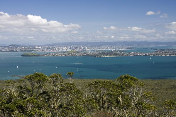 Auckland City from the top of Rangitoto Island