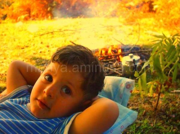 Baby on fire