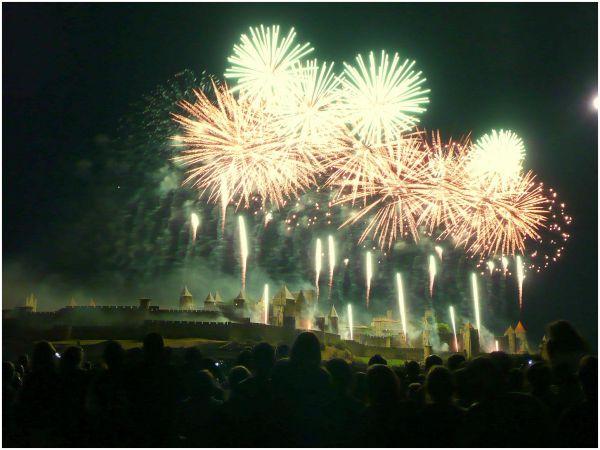 fireworks over Carcassonne