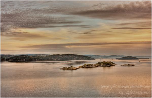 Norwegian fjord at dawn