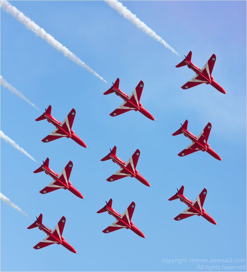 The Red Arrows in Diamond Formation