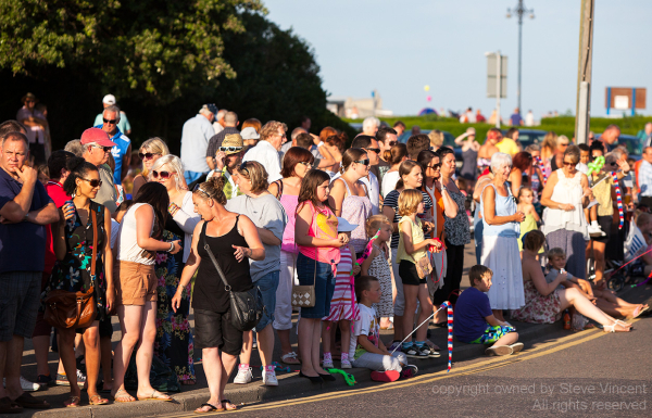 Crowds watch the Clacton Carnival procession