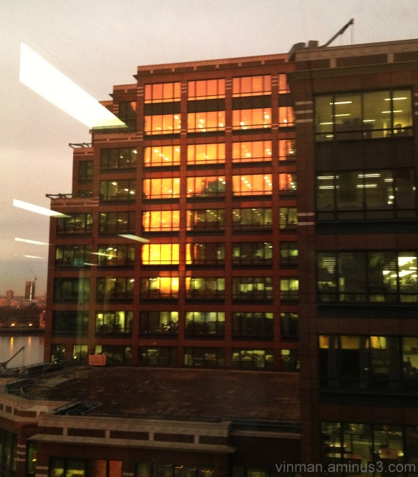 Sunrise reflected in the windows of an office