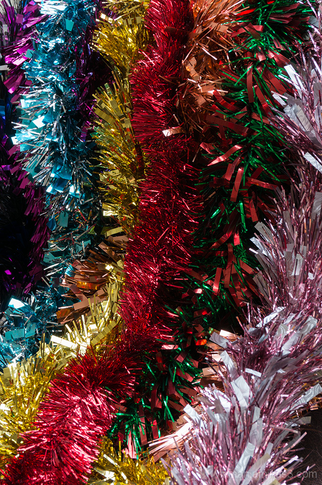 Multi-coloured Christmas tinsel