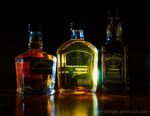 Three small bottles of Jack Daniel's whiskey
