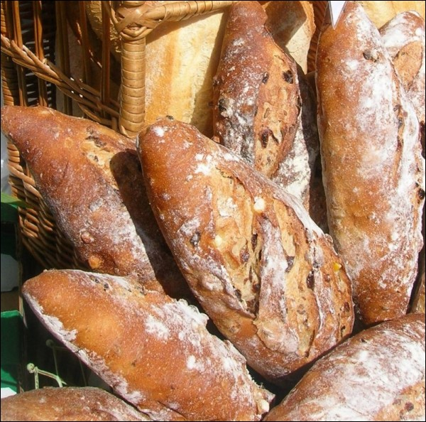 Artisan bread at the farmers market