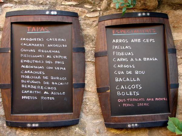 Menú/Carta de Restaurant en PERATALLADA