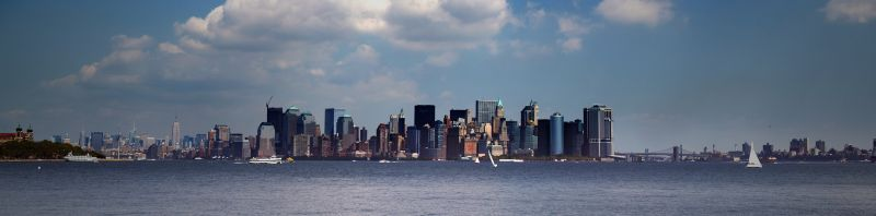 Syline of New York from Statue of Liberty